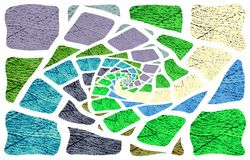 Unique light background. Images diverge in a spiral from the middle to the edges. Abstract textured background. Image for Illustration & Clipart. Unusual design royalty free illustration