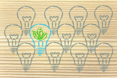 Unique lightbulb with leaves inside, metaphor of green economy Royalty Free Stock Photography