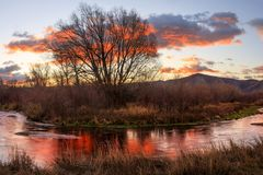 Colorful golden sunrise reflection above a stream, Utah mountains, USA. stock photography