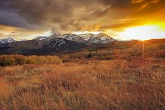 Dramatic golden sunset in the Wasatch Mountains, Utah, USA. stock image