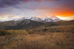 Dramatic red sunset in the Wasatch Mountains, Utah, USA. royalty free stock image