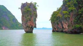 Finger-like karst formation of Ko Ta Pu island, Thailand. The unique limestone finger-like karst formation of Ko Ta Pu island in waters of Andaman sea at the stock video