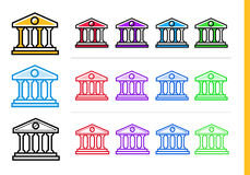 Unique linear icons BANK BUILDING of finance, banking. Modern ou. Premium quality modern icons for your design Royalty Free Stock Images