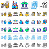 Unique linear icons with different color of finance, banking.. Premium quality modern icons for your design Royalty Free Stock Photo