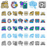 Unique linear icons with different color of finance, banking. Su. Premium quality modern icons for your design Stock Image