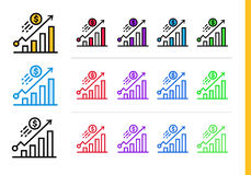 Unique linear icons GROWTH of finance, banking. Modern outline i. Premium quality modern icons for your design Stock Photography