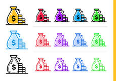 Unique linear icons MONEY BAG of finance, banking. Modern outlin. Premium quality modern icons for your design Royalty Free Stock Photography