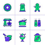Unique linear icons set of bakery, cooking. High quality modern. Vector pictogram suitable for print, website and presentation Stock Image