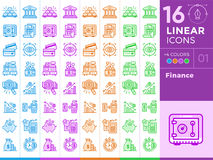 Unique linear icons set of finance, banking. With different colo. Premium quality modern icons for your design Royalty Free Stock Photo