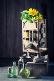 Unique machine to make oil in old basement Stock Photo