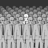 Unique Man in the Crowd Vector Illustration Royalty Free Stock Image