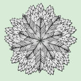 Unique mandala with leaves. Round zentangle for coloring book pages. Circle ornament pattern for henna tattoo design Royalty Free Stock Image