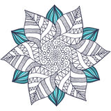Unique mandala vector in floral style. Circle zentangle for coloring book pages. Round ornament pattern for henna tattoo Stock Image