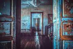 Unique Manor In Lithuania. Door by Door. Unique manor, located in Lithuania with beautiful perspective of numerous doors. Captured in daylight, styled in nice royalty free stock image