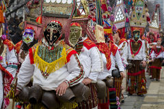 Unique Masks Kukeri Mummers Surva Bulgaria Royalty Free Stock Photo