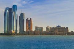 Unique modern Abu Dhabi skyline United Arab Emirates Stock Photography