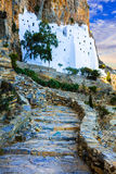 Unique monastery Panagia Hozovitissa on the cliff, Amorgos islan Stock Photos