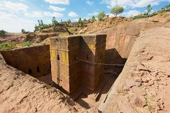 Unique monolithic rock-hewn Church of St. George Bete Giyorgis in Lalibela, Ethiopia. royalty free stock photos