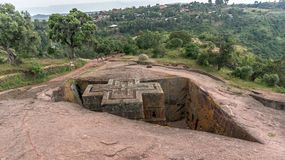 Unique monolithic rock-hewn Church of St. George, Lalibela, Ethiopia. royalty free stock photography