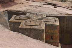 Unique monolithic rock-hewn Church of St. George, UNESCO World heritage, Lalibela, Ethiopia. Stock Photo