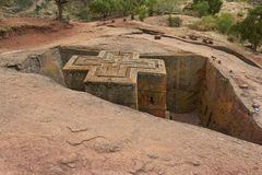 Unique monolithic rock-hewn Church of St. George, UNESCO World heritage, Lalibela, Ethiopia. Stock Image
