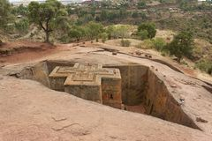 Unique monolithic rock-hewn Church of St. George, UNESCO World heritage, Lalibela, Ethiopia. Royalty Free Stock Photo