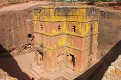 Unique monolithic rock-hewn Church of St. George, UNESCO World heritage, Lalibela, Ethiopia. Royalty Free Stock Photos