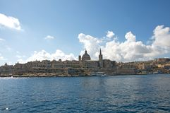 Malta, Valletta, Most beautiful landscape of the Old Port. Unique and the most beautiful landscape of the Old Port of Valletta and Medieval architecture of Stock Photos