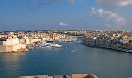 Malta, Most beautiful landscape of the Three Cities, viewed from Valletta. Unique and the most beautiful landscape of the Royalty Free Stock Image