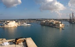 Malta, Scenic landscape of the Three Cities, viewed from Valletta. Unique and the most beautiful landscape of the Royalty Free Stock Image