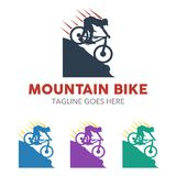 Unique Mountain Bike Illustration Logo Stock Photos