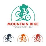 Unique Mountain Bike Illustration Logo Royalty Free Stock Photo