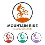 Unique Mountain Bike Illustration Logo Stock Photo