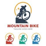 Unique Mountain Bike Illustration Logo Stock Image