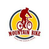 Unique Mountain Bike Illustration Logo Royalty Free Stock Photo