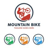 Unique Mountain Bike Illustration Logo Stock Images