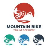 Unique Mountain Bike Illustration Logo Royalty Free Stock Image