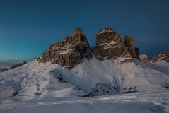 Unique night and winter mountain landscape of Tre Cime Stock Images