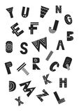 Unique nursery poster with latin alphabet letters in scandinavian style. ABC monochrome  illustration Royalty Free Stock Images