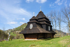 The unique old wooden church in the village Uzhok. Ukraine royalty free stock photo