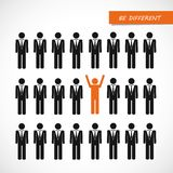 Unique orange man in crowd think different concept royalty free illustration