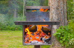 A unique outdoor cooking grill at a campground Stock Photos