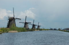 Unique panoramic view on windmills in Kinderdijk, Holland. Undoubtedly the unique collection of 19 authentic windmills, which are considered a Dutch icon Royalty Free Stock Photography