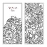 Unique pattern card set with art flowers. Unique abstract  hand drawn pattern card set with art flowers and leaves. Perfect for invitations or announcements Stock Photography