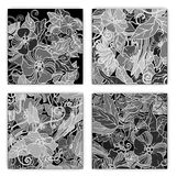 Unique pattern card set with art flowers. Royalty Free Stock Photography