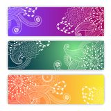 Unique pattern card set with art flowers. Unique abstract  hand drawn pattern card set with art flowers and leaves. Perfect for invitations or announcements Royalty Free Stock Photos