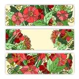 Unique pattern card set with art flowers. Stock Photos