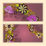 Unique pattern card set with art flowers. Royalty Free Stock Image