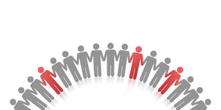 Unique people. In a circle and colored red Stock Photography
