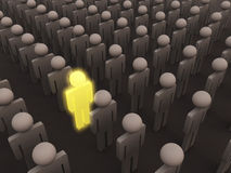 Unique person. A 3d man glowing in a crowd showing unique qualities vector illustration